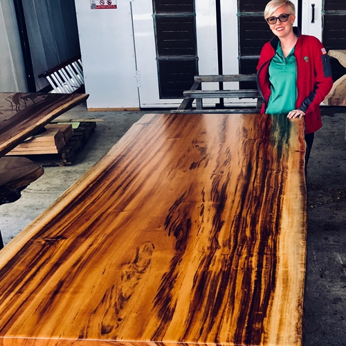 Pre-finished Tigerwood live edge slab table 93fee2991